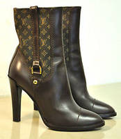 Authenticsss LOUISss VUITTONsss BROWN LEATHER and MONOGRAM MID CALF BOOTS Shoes