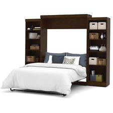 Wholesale chocolate: Bestar Pur Queen Wall Bed with Storage in Chocolate Transitional Furniture