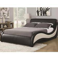 Wholesale q: Coaster 300170Q Niguel Queen Size Bed Wtih Black and White Upholstery Furniture
