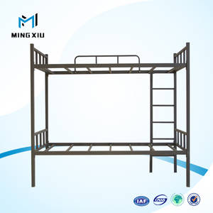 Wholesale metal bed: Mingxiu School Equipment Black Cheap Metal Bunk Beds / Easy Assembly Metal Bunk Bed