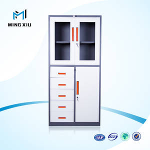 Wholesale glass cabinet: Luoyang Office Furniture Factory Durable Glass Door Metal 5 Drawer File Cabinet