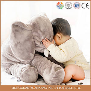 Wholesale stuffed pillows: Low MOQ Custom Plush Stuffed Soft Elephant Shape Baby Pillow