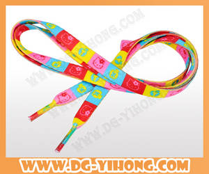 Wholesale Shoelaces: Cheap Hot Sell Costom Heat Transfer Printed Flat Bulk Shoelace for Wholesale