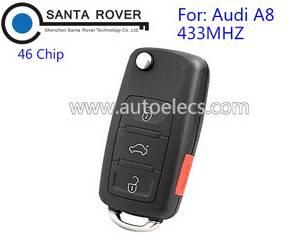 Wholesale car diagnostic tool: Flip Key for Audi A8 Remote Key 46 Chip 433mhz