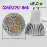 GU10 3W 220V 3 LED Condenser Lens Spot Lamp Downlight Lamp