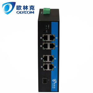 Wholesale 100m poe switch: 10/100/1000m 1 Fiber + 8UTP LC Industrial Fiber Switch with Poe External Power Supply
