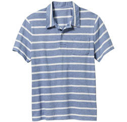 Wholesale T-Shirts: Baby Blue Striped Polo T Shirt