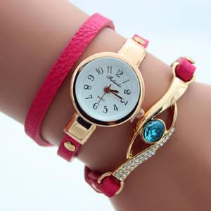 Wholesale quartz watch: Gemstone Bracelet Watch Dress PU Leather Quartz Wristwatches for Women