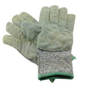 Wholesale leather glove: HPPE Liner Leather Coated Cut Resistant Glove Stab Resistant Glove