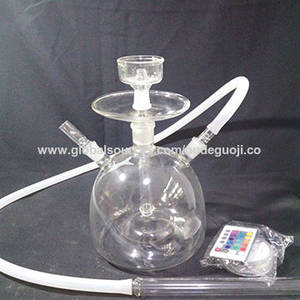 Wholesale Hookahs: Silicone Hose Glass Hookah with LED Light