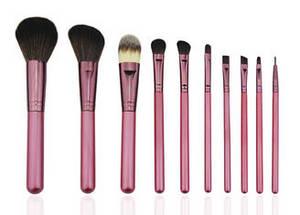 Wholesale makeup brush: Pink Professional Makeup Brush Set Include Wooden Handle Aluminum Ferrule