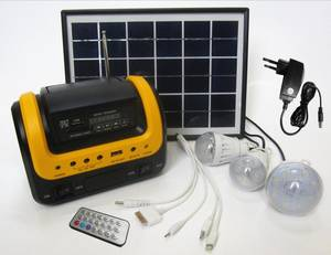 Wholesale led controller: Mini Portable LED Home Lighting Solar Power System with FM Radio Remote Control
