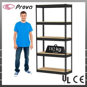 Wholesale black board: Black Coating Metal Shelving with Particle Board