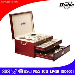 Wholesale gold set: 84pcs Red Wooden Box Gold Plated Cutlery Set