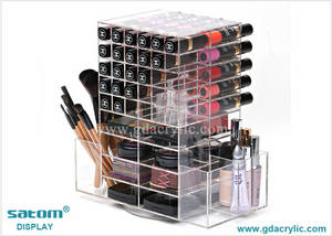 Wholesale makeup pencil: Clear Spinning Lipstick Holder Display with Drawer and Side Pocket