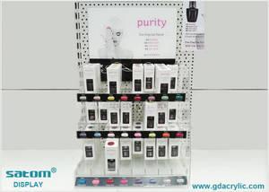 Wholesale acrylic cosmetics organizer rack: Desk Top / Wall Mounted Acrylic Nail Polish Rack Shelf Display