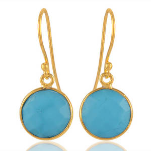 Wholesale Earrings: Arizona Turquoise Round Earring 18K Gold Plated Silver
