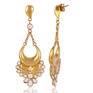 Wholesale gold earrings: Yellow Gold Plated Jhumka Earring Cubic Zirconia CZ Traditional Earring