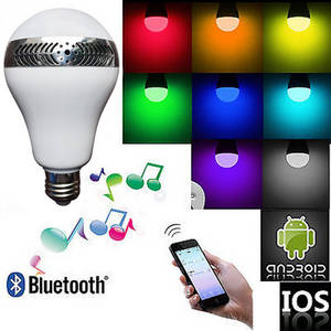 Wholesale Portable Spotlights: 2015 Hottest APP Remote Control LED Light Bulb Wireless Portable Bluetooth Speaker,Mobile Phone APP