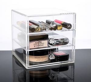 Wholesale makeup: Acrylic Makeup Organizer Cube | 3 Drawers Storage Box for Vanity Tables