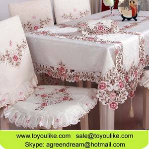 Wholesale table cover: Toyoulike Handmade Cutwork Embroidey Jacquard Fabric Dining Tablecloth Chair Cover Set Table Runners