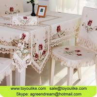 Wholesale Flower Embroidered Polyester Dining Table Cloth Chair Cover Set Table Runner Cushion Cover