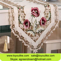 Toyoulike Pink Flower Embroidered Handmade Cutwork Polyester Table Runner Placemats for Home Decor
