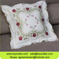 Toyoulike Beige White Embroidered Throw Decorative Cushion Cover for Car