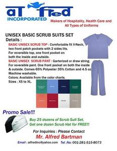 Wholesale Uniforms & Workwear: Basic Unisex Scrub Suits Set