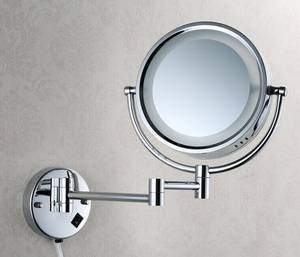 Wholesale makeup mirror: 5229 Fashion New Double Sided Round Magnifying Wall Mount Makeup Mirror with LED Light Bathroom