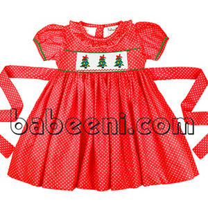 Wholesale x: X-mas Tree Hand Smocked Dress for Little Princess - DR 2293