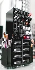 Wholesale acrylic makeup display rack: Hot Sale Fashion Clear Black Acrylic Lipstick Display Rack / Acrylic Makeup Cosmetic Organizer