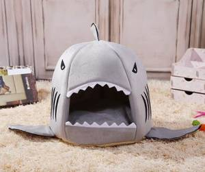 Wholesale lovely pillows: Angelpet Grey Blue Shark Bed for Small Cat Dog Cave Bed PET House Gift for PET