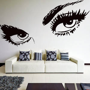 Wholesale sexis: Vinyl Wall Decal Womens Eyes Silhouette / Sexy Teens Face Art Decor Removable Home Sticker