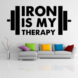 Wholesale iron: Vinyl Wall Decal Motivation Quote Iron Is My Therapy/ Fitness /Inspirational Text Decor Sticker