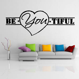 Wholesale beauty: Vinyl Wall Decal Quote Be*You*tiful, Heart Shape / Inspirational Text Beautiful Art Decor Sticker