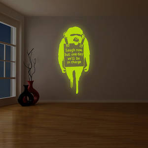 Wholesale arts: Banksy Glowing Vinyl Wall Decal Monkey Quote Laugh Now / Glow in Dark Graffiti Art Chimp Text