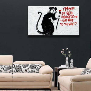 Wholesale bed: Banksy Quote Wall Canvas Print / I'm Out of Bed and Dressed Printing Room Decor / Mouse Paint Street