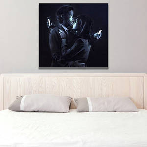 Wholesale cell phone: Banksy Kissing Couple with Cell Phones Canvas Print / Hugging Teens with Smart Phones