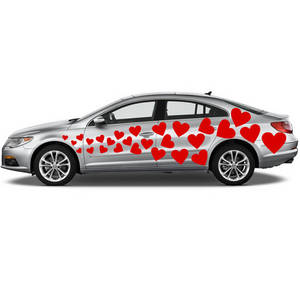 Wholesale pcs: Vinyl Car Decal Flying Hearts with Different Shapes 54 PCS / Just Married Wedding Stickers