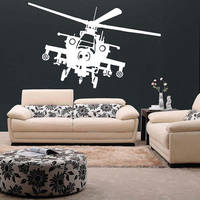 Vinyl Wall Decal Army Helicopter Design / War Machine Art Decor Removable Sticker / Military Flying 2
