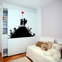 Banksy Vinyl Wall Decal Warfare Children Playground / Kids On Weapons, Guns & Bombs Street 2