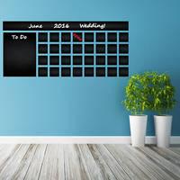 Blackboard Vinyl Wall Decal Calendar with To Do List / Chalkboard Erasable Office Mural / 2
