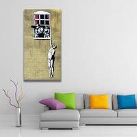 Banksy Naked Man Canvas Print / Husband Returned Home Printing Decor / Man Hanging 2