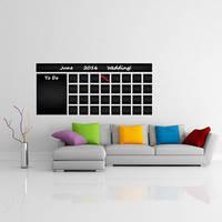 Blackboard Vinyl Wall Decal Calendar with To Do List / Chalkboard Erasable Office Mural /  3