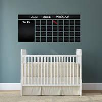 Blackboard Vinyl Wall Decal Calendar with To Do List / Chalkboard Erasable Office Mural /  4
