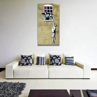 Banksy Naked Man Canvas Print / Husband Returned Home Printing Decor / Man Hanging 4
