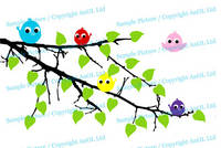 Vinyl Wall Decal Tree Branch with Leaves and Five Cute Colorful Birds / Happy Nature Forest Creature 4