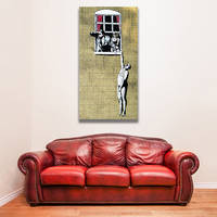Banksy Naked Man Canvas Print / Husband Returned Home Printing Decor / Man Hanging 5
