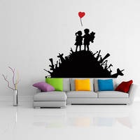 Banksy Vinyl Wall Decal Warfare Children Playground / Kids On Weapons, Guns & Bombs Street